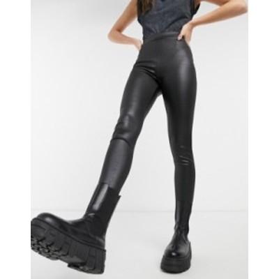 トップショップ レディース レギンス ボトムス Topshop wet look leggings in black croc Black
