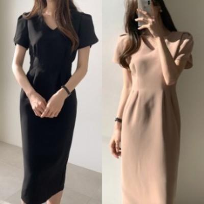 ワンピース フォーマル 韓国 ファッション レディース パフスリーブ vネック ロングワンピース 夏服 レディース 上品 お呼ばれ シック パ