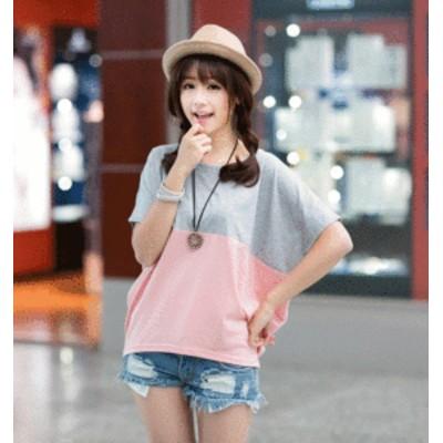 ゆったり かわいい Tシャツ ラウンドネック 半袖 フレンチスリーブ 異素材 バイカラー 大きいサイズ 3色 レディース トップス 夏