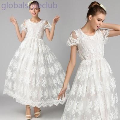 レースフレアースリーブ☆ホワイト スイングイブニングドレス
