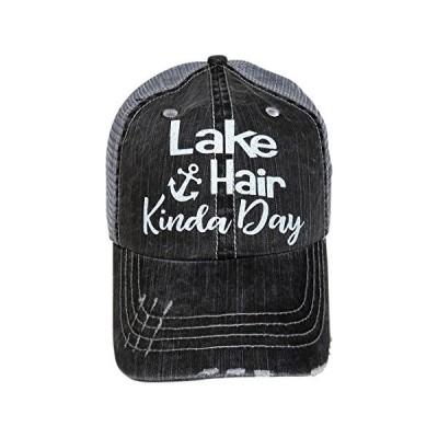 グリッター Lake ヘアー Kinda Day Distressed ルック グレー Trucker キャップ ハット (White(海外取寄せ品)