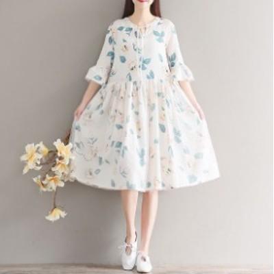 ゆったり ひざ丈 プリント ワンピース 5分丈袖 チュニック 花柄 夏服 秋服 韓国 ファッション