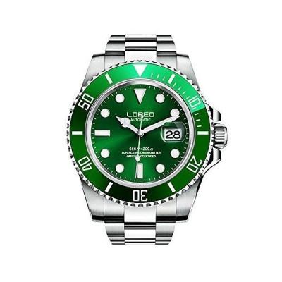 LOREO 腕時計 自動巻き カレンダー 夜光 回転ベゼル メンズ グリーン