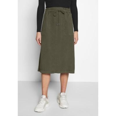 マルコポーロ スカート レディース ボトムス SKIRT STRAIGHT SHAPE SIDE SLITS - A-line skirt - soaked moss