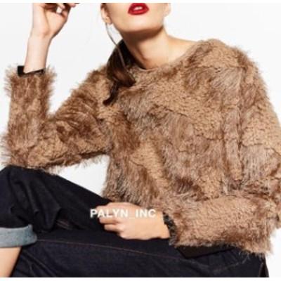 ファッション トップス RARE_NWT ZARA SAND VERY SOFT WARM FAUX FUR SWEATER 7568/240_S M L