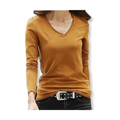 [イーグルハート] Vネックロング Tシャツ 長袖 カットソー トップス 無地 薄手 レディース EH050 (ブラウン M)