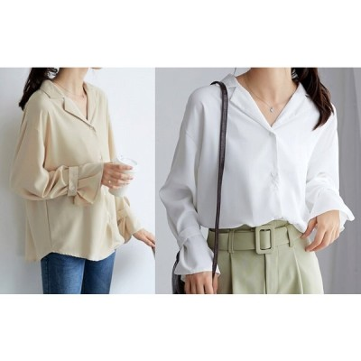 全2色 長袖シャツ フレアスリーブ 切り替え 体型カバー 着痩せ シンプル