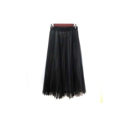 【中古】イチエ iCHIE ロングスカート ギャザー プリーツ 黒 ブラック /YI レディース 【ベクトル 古着】