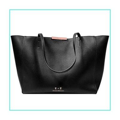 【新品】Women's Satchel Large Tote Bags - U+U Handbags Leather Shoulder Bag Top Handle Hobo Bag Shopping Work fit 15.6 inch Black(並行輸入