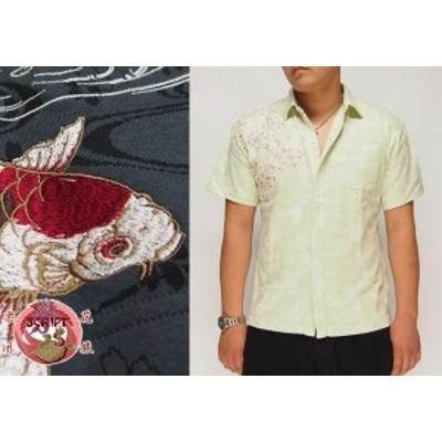 花旅楽団[ハナタビガクダン] 桜鯉刺繍 ジャガード 和柄ポロシャツ/SCS-602/