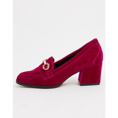 エイソス ASOS DESIGN レディース ローファー・オックスフォード シューズ・靴 Skylar mid-heeled loafers in berry velvet