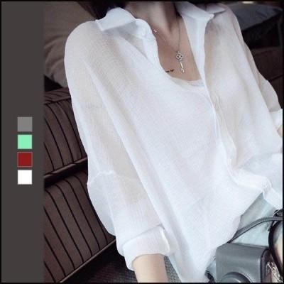 ロングシャツ レディース ブラウス シャツ ゆったり 長袖ブラウス UV対策 体型カバー ゆとり とろみシャツ シフォンブラウス 紫外線対策 シフォン