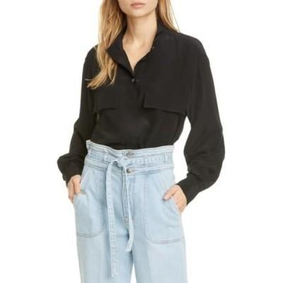 フレーム レディース シャツ トップス Silk Clean Safari Shirt NOIR