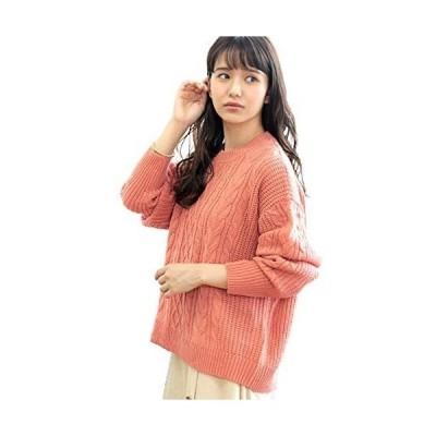 [アドティエ] ケーブル編み ニットセーター ゆったり 長袖 クルーネック 畔編み トップス レディース 19505001 M (オレンジ M)