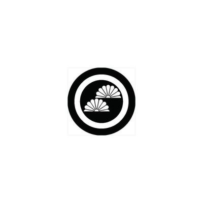 家紋シール 丸に二つ半菊紋 直径4cm 丸型 白紋 4枚セット KS44M-0713W