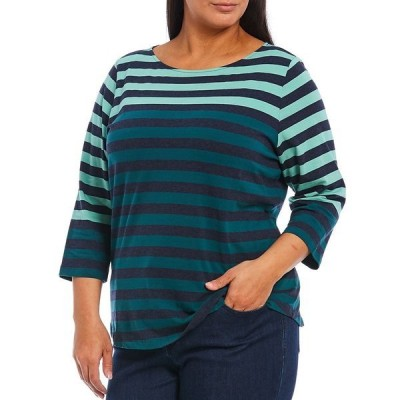 ルビーロード レディース Tシャツ トップス Plus Size Yarn Dye Engineered Colorblock Stripe Boat Neck 3/4 Sleeve Top Forest Multi