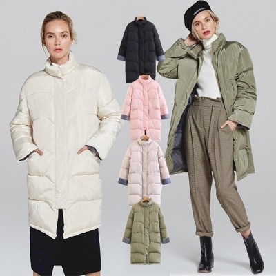 中綿コートレディース暖かくて軽いスタンド襟アウター中わたコートレディースコートロング丈秋冬新作袖切り替えあったか中綿コート