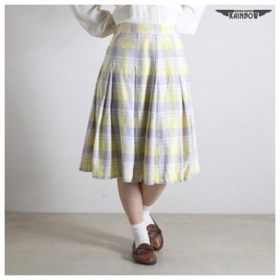 古着 黄 チェック柄 パステル 膝丈 スカート レディース ヴィンテージ (古着屋RAINBOW 通販) (btu1701111)