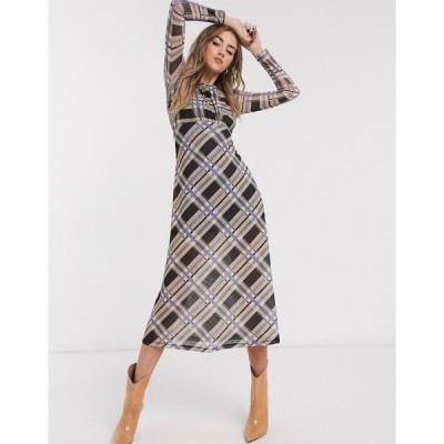 トップショップ ミディドレス レディース Topshop check mesh midi dress in multi エイソス ASOS マルチカラー