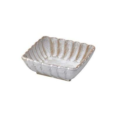 見谷陶器 小鉢 窯変白釉 角小鉢 しのぎ