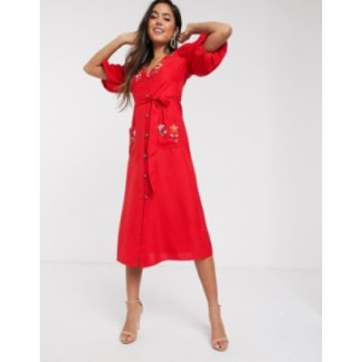 エイソス レディース ワンピース トップス ASOS DESIGN embroidered button through midi tea dress with puff sleeves in rust Red