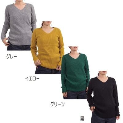 【地域限定送料無料】レディースファッション ベーシック リブ ニット トップス V首 洗える