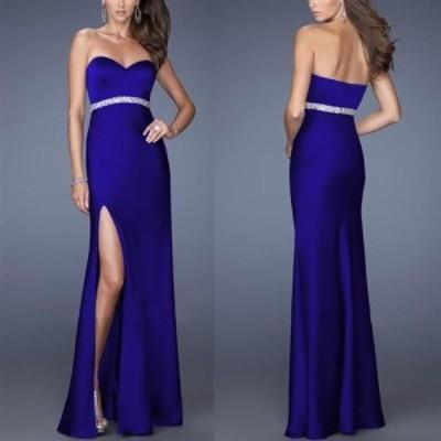 大きいサイズ(XLサイズ)キャバドレス ロングドレス フォーマルドレス  キャバワンピ 深めのセクシースリットベアトップロングドレス