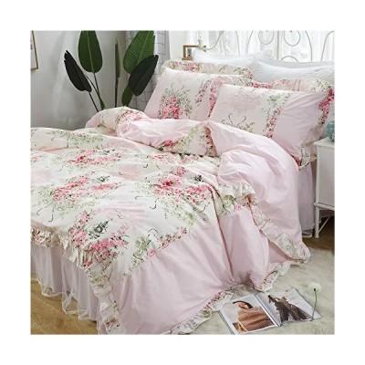 ピンク薔薇柄 韓式姫系 布団カバー3点セット 掛け布団カバー 枕カバー 超綺麗 淑女 乙女
