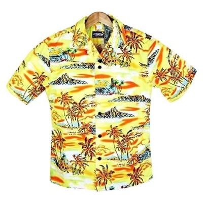 メンズアロハシャツ レモンイエロー・オールドハワイアン柄 黄色/オレンジ コットン(s2103102363)