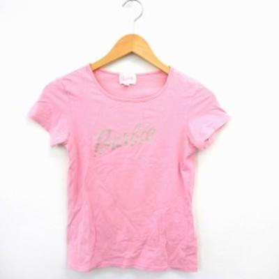【中古】バービー Barbie Tシャツ カットソー ロゴプリント 丸首 半袖 コットン 綿 M ピンク /MT45 レディース