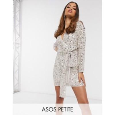 エイソス レディース ワンピース トップス ASOS DESIGN Petite mini dress with batwing sleeve and wrap waist in scatter sequin Pale