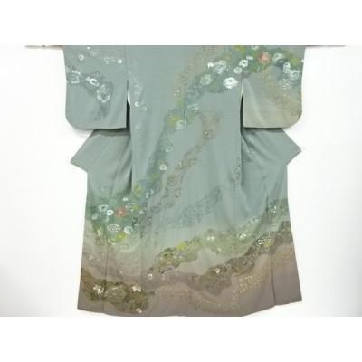 宗sou 翠山刺繍道長取に草花模様訪問着【リサイクル】【着】