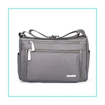 【新品】Crossbody Bag For Women Multi Pocket Shoulder Bag Waterproof Nylon Lightweight Work Bag,Gray(並行輸入品)