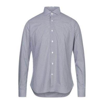 UNGARO 柄入りシャツ  メンズファッション  トップス  シャツ、カジュアルシャツ  長袖 ダークブルー