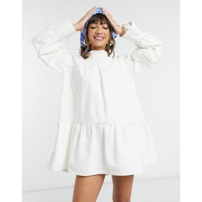エイソス レディース ワンピース トップス ASOS DESIGN denim pie crust smock dress with puff sleeves in off white