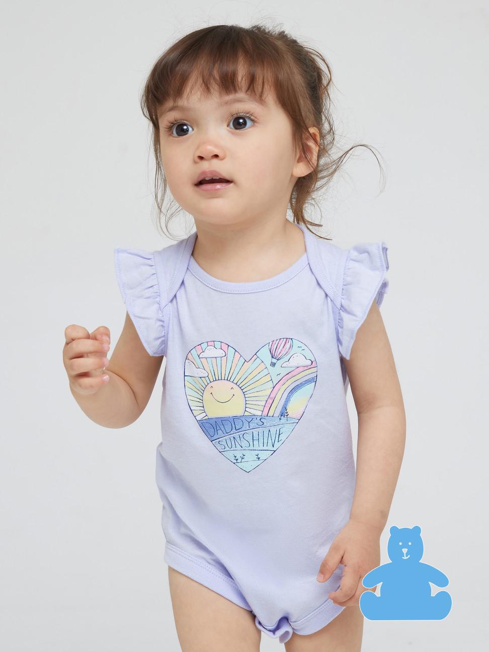 嬰兒 布萊納系列 甜美印花荷葉邊包屁衣