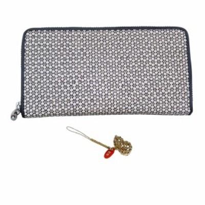 印伝 ラウンド 財布 INDEN 小桜 柄 印傳 和装 和柄 メンズ ウォレット 日本製 (白地:黒漆(瓢箪))