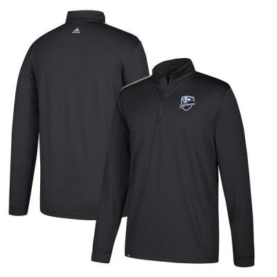 """アディダス メンズ ジャケット """"Montreal Impact"""" adidas Three Stripe Quarter-Zip Pullover Jacket - Black"""