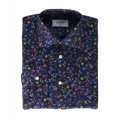 エトン シャツ トップス メンズ Slim Fit Twill Floral Print Button-Down Navy