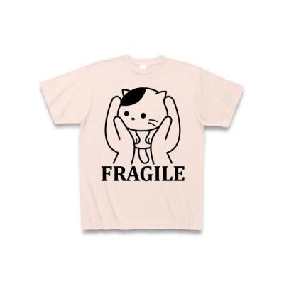 ねこは壊れ物扱い Tシャツ(ライトピンク)