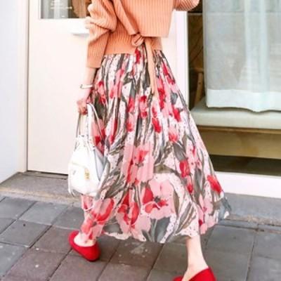 スカート レディース ロングスカート 花柄 フラワー プリーツ ウエストゴム 韓国