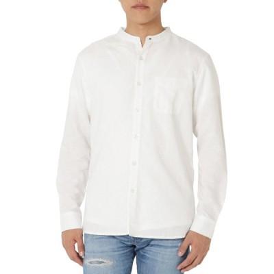 バンドカラーシャツ メンズ ノーカラー リネン長袖