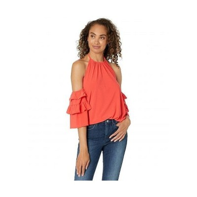 CeCe レディース 女性用 ファッション ブラウス Off-the-Shoulder Ruffled Knit Top - Coral Sunset
