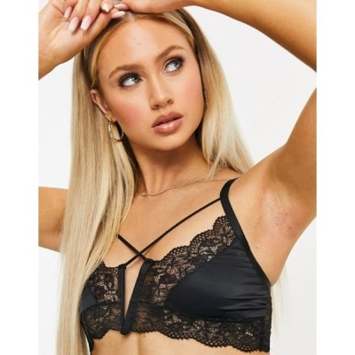 エイソス レディース ブラジャー アンダーウェア ASOS DESIGN Misgana satin cross-front bralet with strapping
