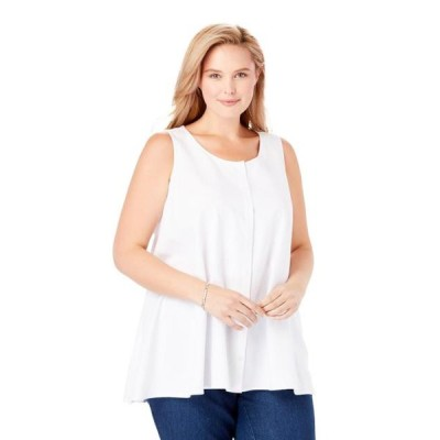 レディース 衣類 トップス Woman Within Women's Plus Size Button-Front Linen Tank ブラウス&シャツ