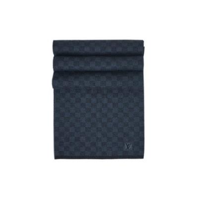 ルイヴィトン M70030 マフラー LV エシャルプ・プティ ダミエ ウール100% コバルト(ブルー/ネイビー) 専用箱付き