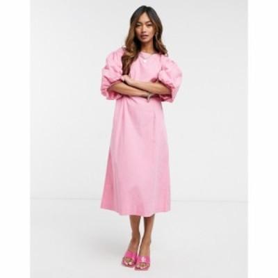 ヴェロモーダ Vero Moda レディース ワンピース ミドル丈 ワンピース・ドレス Poplin Midi Dress With Puff Sleeves In Pink ワイルドロ