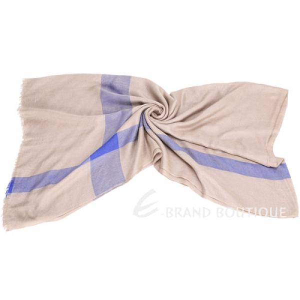 SCERVINO 配色格紋設計圍巾(膚x藍色) 1440556-62