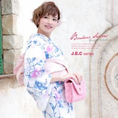 浴衣セット レディース レトロ 浴衣セット 大人 3点セット 白系 ホワイト 青 ピンク 椿 つばき 花 ラメ 綿 兵児帯 女性 ボヌールセゾン