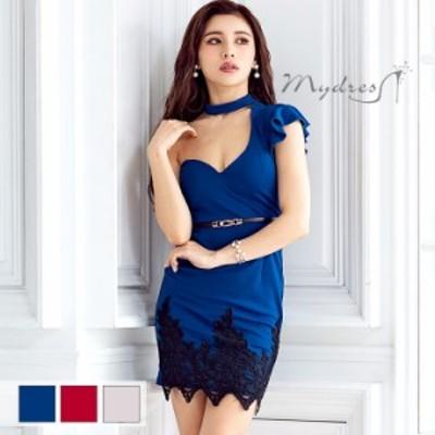 mydress マイドレス キャバ ドレス [ベルトセット]チョーカー風ワンショルダー 美ラインタイトミニドレス